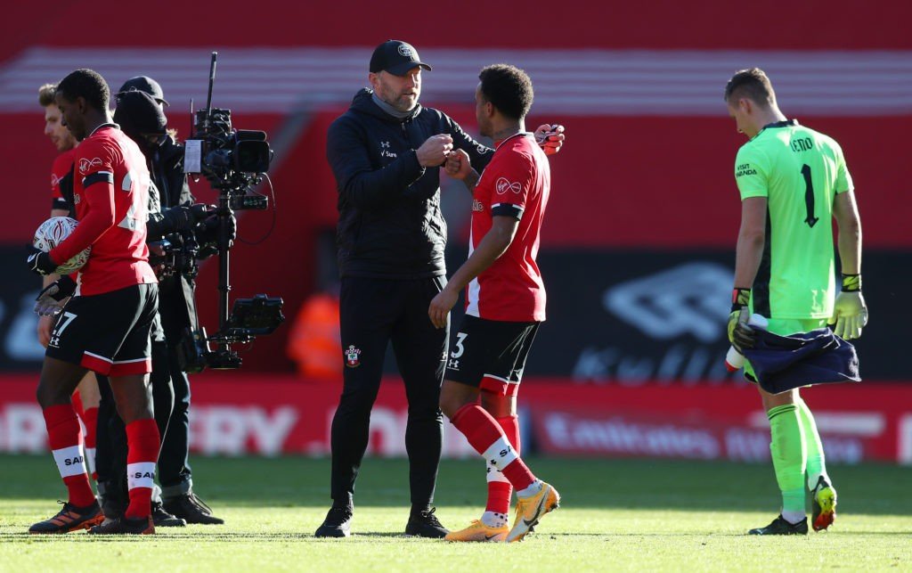 SOUTHAMPTON, ENGLAND: Ralph Hasenhuttl, Manager of Southampton celebrates with Ryan Bertrand of Southampton following their side's victory after The Emirates FA Cup Fourth Round match between Southampton FC and Arsenal FC on January 23, 2021. (Photo by Catherine Ivill/Getty Images)