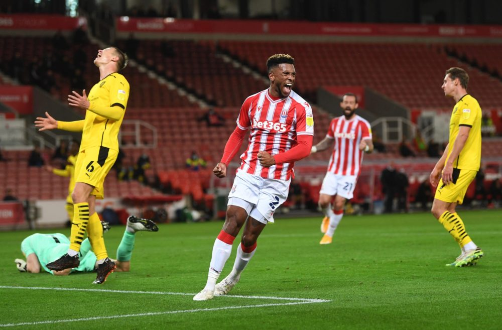 STOKE ON TRENT, ENGLAND - OCTOBER 21: Tyrese Campbell of Stoke City celebrates after scoring his sides first goal during the Sky Bet Championship match between Stoke City and Barnsley at Bet365 Stadium on October 21, 2020 in Stoke on Trent, England. Sporting stadiums around the UK remain under strict restrictions due to the Coronavirus Pandemic as Government social distancing laws prohibit fans inside venues resulting in games being played behind closed doors. (Photo by Gareth Copley/Getty Images)