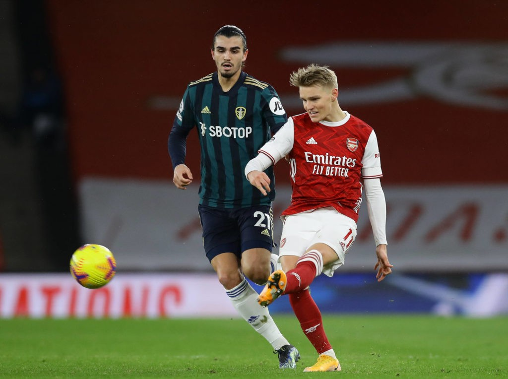Martin Odegaard of Arsenal and Pascal Struijk of Leeds United during the Premier League match at the Emirates Stadium, London. Picture date: 14th February 2021. (Photo by David Klein / Sportimage)
