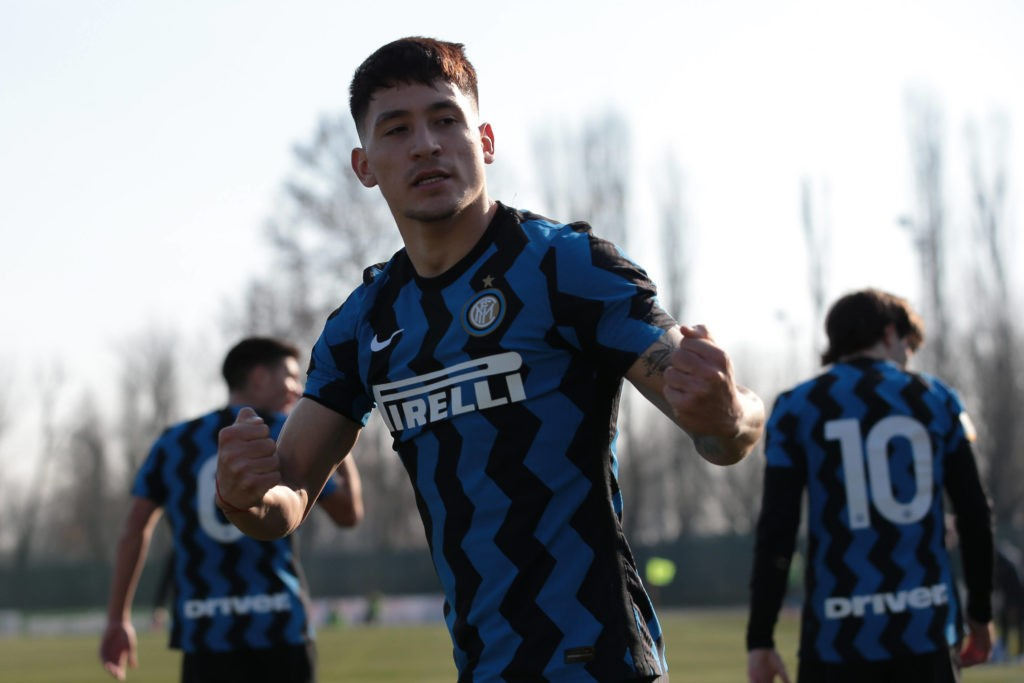 Martin Satriano of Internazionale celebrates after scoring to give the side a 1-0 lead during the Primavera 1 match at Centro Sportivo Vismara, Milan. Picture date: 17th February 2021. Photo by Jonathan Moscrop/Sportimage