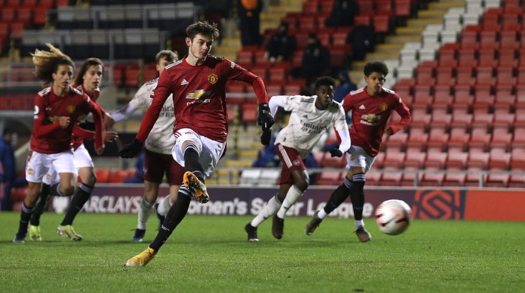Joe Hugill sees his penalty saved by Arthur Okonkwo (Photo via ManUtd.com)