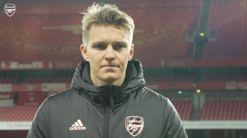 Martin Odegaard speaking to Arsenal.com after helping the club to a win over Leeds United