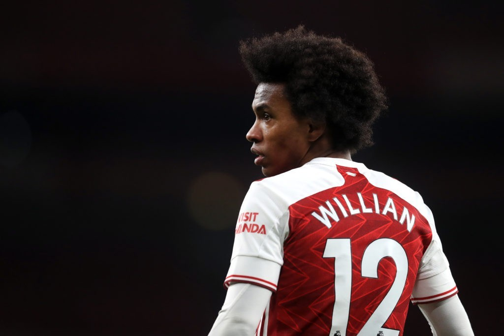 LONDON, ENGLAND - FEBRUARY 14: Willian of Arsenal looks on during the Premier League match between Arsenal and Leeds United at Emirates Stadium on February 14, 2021 in London, England. Sporting stadiums around the UK remain under strict restrictions due to the Coronavirus Pandemic as Government social distancing laws prohibit fans inside venues resulting in games being played behind closed doors. (Photo by Adam Davy - Pool/Getty Images)