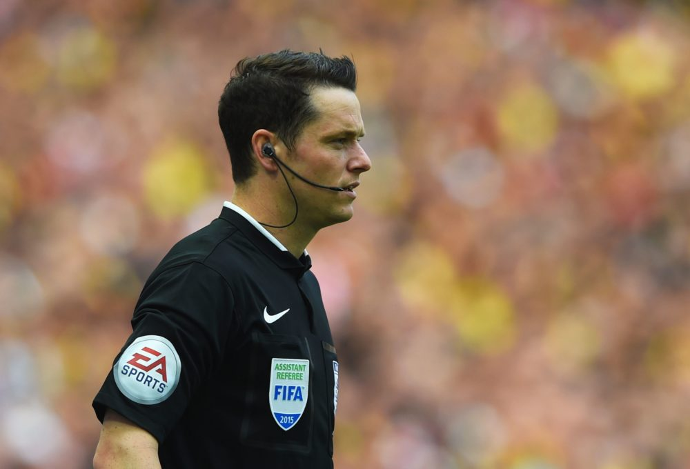 LONDON, ENGLAND - MAY 30: Assistant referee Darren England looks on during the FA Cup Final between Aston Villa and Arsenal at Wembley Stadium on May 30, 2015 in London, England. (Photo by Shaun Botterill/Getty Images)
