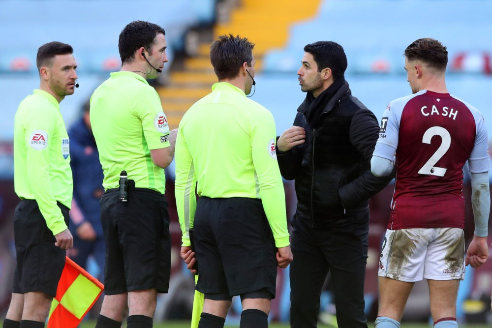 BIRMINGHAM, ENGLAND - FEBRUARY 06: Mikel Arteta, Manager of Arsenal talks to Referee, Chris Kavanagh after the Premier League match between Aston Villa and Arsenal at Villa Park on February 06, 2021 in Birmingham, England. Sporting stadiums around the UK remain under strict restrictions due to the Coronavirus Pandemic as Government social distancing laws prohibit fans inside venues resulting in games being played behind closed doors. (Photo by Nick Potts - Pool/Getty Images)