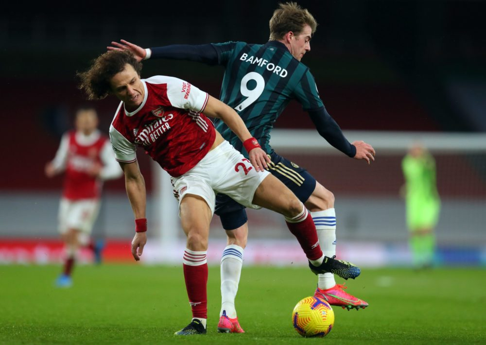 David Luiz new contract coming: Arsenal's Brazilian defender David Luiz (L) and Leeds United's English striker Patrick Bamford compete during the English Premier League football match between Arsenal and Leeds United at the Emirates Stadium in London on February 14, 2021. (Photo by Catherine Ivill / POOL / AFP)