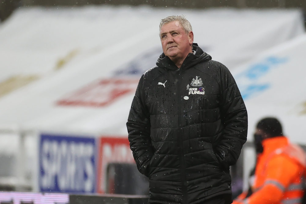 Newcastle United's English head coach Steve Bruce reacts during the English Premier League football match between Newcastle United and Crystal Palace at St James' Park in Newcastle-upon-Tyne, north east England on February 2, 2021. (Photo by LEE SMITH / POOL / AFP)