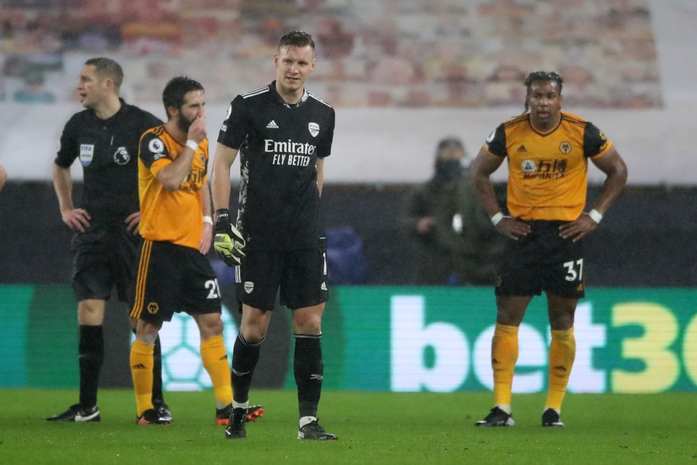 Arsenal's German goalkeeper Bernd Leno (2R) leaves the field on being red carded looks on during the English Premier League football match between Wolverhampton Wanderers and Arsenal at the Molineux stadium in Wolverhampton, central England on February 2, 2021. (Photo by Nick Potts / POOL / AFP)