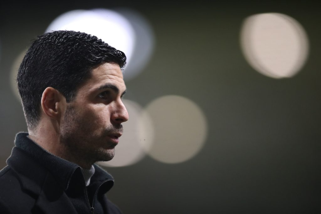 Arsenal's Spanish manager Mikel Arteta reacts at the final whistle during the English Premier League football match between Wolverhampton Wanderers and Arsenal at the Molineux stadium in Wolverhampton, central England on February 2, 2021. (Photo by Nick Potts / POOL / AFP)