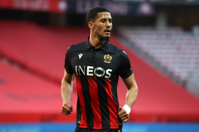 William Saliba looks on during the French L1 football match between Nice and Bordeaux at the