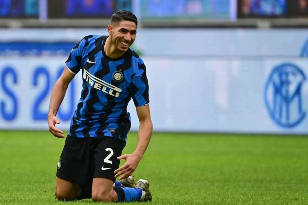 Inter Milan's Moroccan defender Achraf Hakimi celebrates after scoring during the Italian Serie A football match Inter Milan vs Crotone on January 3, 2021 at the Giuseppe-Meazza (San Siro) stadium in Milan. (Photo by MIGUEL MEDINA/AFP via Getty Images)
