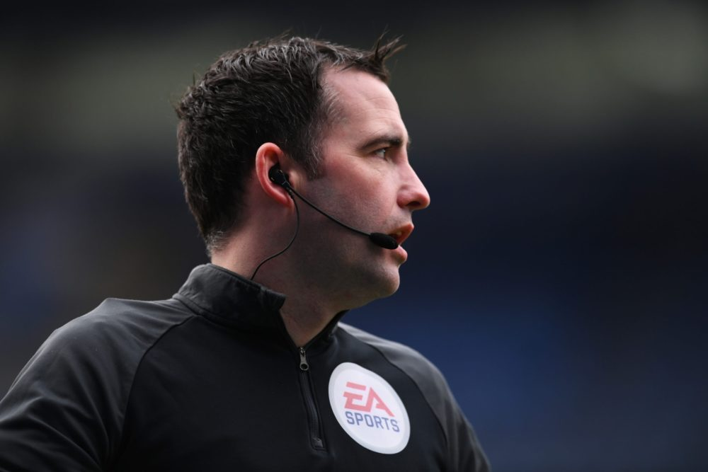 LEICESTER, ENGLAND - JANUARY 31: Match Referee, Chris Kavanagh looks on ahead of the Premier League match between Leicester City and Leeds United at The King Power Stadium on January 31, 2021 in Leicester, England. Sporting stadiums around the UK remain under strict restrictions due to the Coronavirus Pandemic as Government social distancing laws prohibit fans inside venues resulting in games being played behind closed doors. (Photo by Clive Mason/Getty Images)