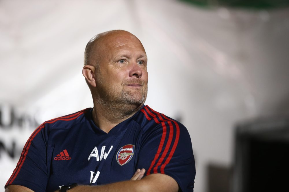 NORTHAMPTON, ENGLAND - AUGUST 27: Arsenal U21 goalkeeper coach Andy Woodman looks on during the Leasing.com Trophy match between Northampton Town and Arsenal U21 at PTS Academy Stadium on August 27, 2019 in Northampton, England. (Photo by Pete Norton/Getty Images)