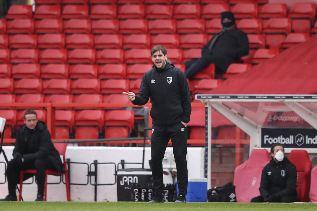 NOTTINGHAM, ENGLAND: Jonathan Woodgate, Manager of AFC Bournemouth gives his team instructions during the Sky Bet Championship match between Nottingham Forest and AFC Bournemouth at City Ground on February 13, 2021. (Photo by Alex Pantling/Getty Images)