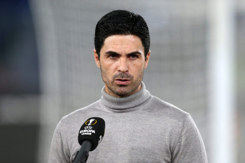 ROME, ITALY - FEBRUARY 18: Mikel Arteta, Manager of Arsenal looks on ahead of the UEFA Europa League Round of 32 match between SL Benfica and Arsenal FC at Stadio Olimpico on February 18, 2021 in Rome, Italy. SL Benfica face Arsenal FC at a neutral venue in Rome behind closed doors after Portugal imposed a ban on travellers arriving from the UK in an effort to prevent the spread of Covid-19 variants. (Photo by Paolo Bruno/Getty Images)