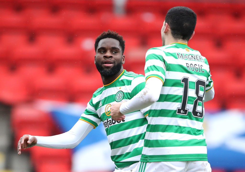 PERTH, SCOTLAND: Odsonne Edouard of Celtic celebrates with teammate Tomas Rogic after scoring their team's second goal during the Ladbrokes Scottish Premiership match between St. Johnstone and Celtic at McDiarmid Park on February 14, 2021. (Photo by Ian MacNicol/Getty Images)