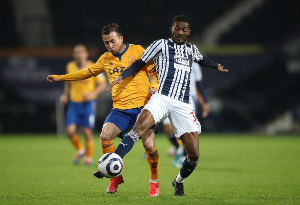 West Bromwich Albion v Everton - Premier League - The Hawthorns Everton's Bernard left and West Bromwich Albion's Ainsley Maitland-Niles battle for the ball during the Premier League match at The Hawthorns, West Bromwich. Picture date: Thursday March 4, 2021. Copyright: Nick Potts
