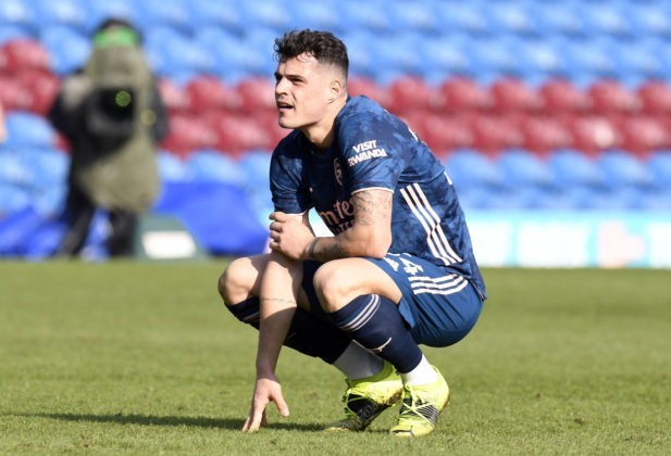 Burnley v Arsenal - Premier League - Turf Moor Arsenal s Granit Xhaka looks dejected during the Premier League match at Turf Moor, Burnley. Picture date: Saturday March 6, 2021. Copyright: Peter Powell