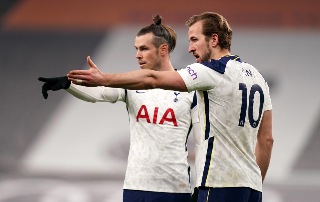 Tottenham Hotspur's Gareth Bale and Harry Kane gesture during the Premier League match at the Tottenham Hotspur Stadium, London. Picture date: Sunday March 7, 2021. Copyright: John Walton