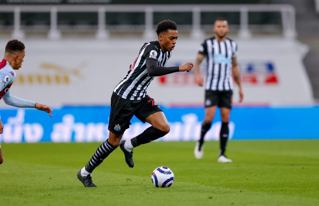 Newcastle United midfielder Joe Willock, on loan from Arsenal, during the Premier League match between Newcastle United and Aston Villa at St. James' Park, Newcastle, England on 12 March 2021. Copyright: Simon Davies