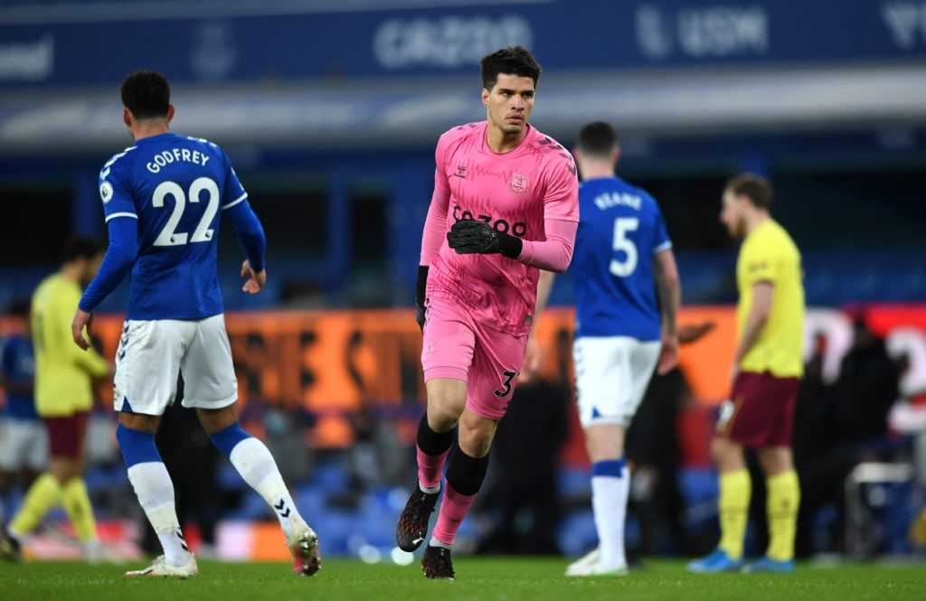 Everton goalkeeper Joao Virginia after being substituted on to the pitch during the Premier League match at Goodison Park, Liverpool. Picture date: Saturday March 13, 2021. Copyright: Gareth Copley