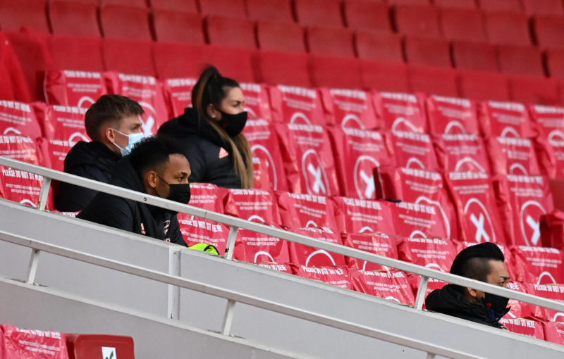Arsenal v Tottenham Hotspur - Premier League - Emirates Stadium Arsenal s Pierre-Emerick Aubameyang left on the bench during the Premier League match at Emirates Stadium, London. Picture date: Sunday March 14, 2021. Copyright: Dan Mullan 58608066