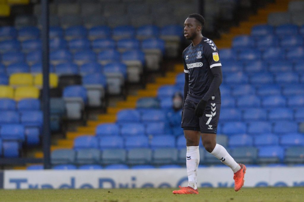 James Olayinka of Southend in action during Sky Bet League Two match between Southend and Barrow AFC at Roots Hall in Southend, UK - 9th January 2021. Copyright: Holly Allison / TPI / Shutterstock