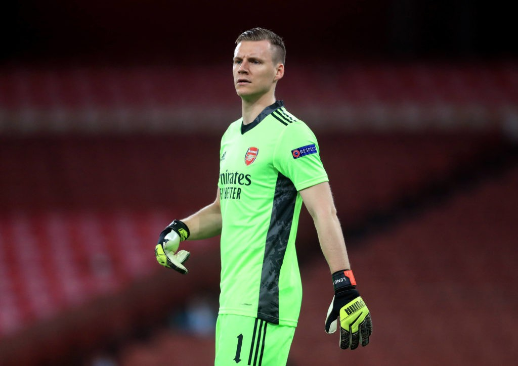 Arsenal goalkeeper Bernd Leno during the UEFA Europa League Round of Sixteen second-leg match at the Emirates Stadium, London. Picture date: Thursday March 18, 2021. Copyright: Adam Davy