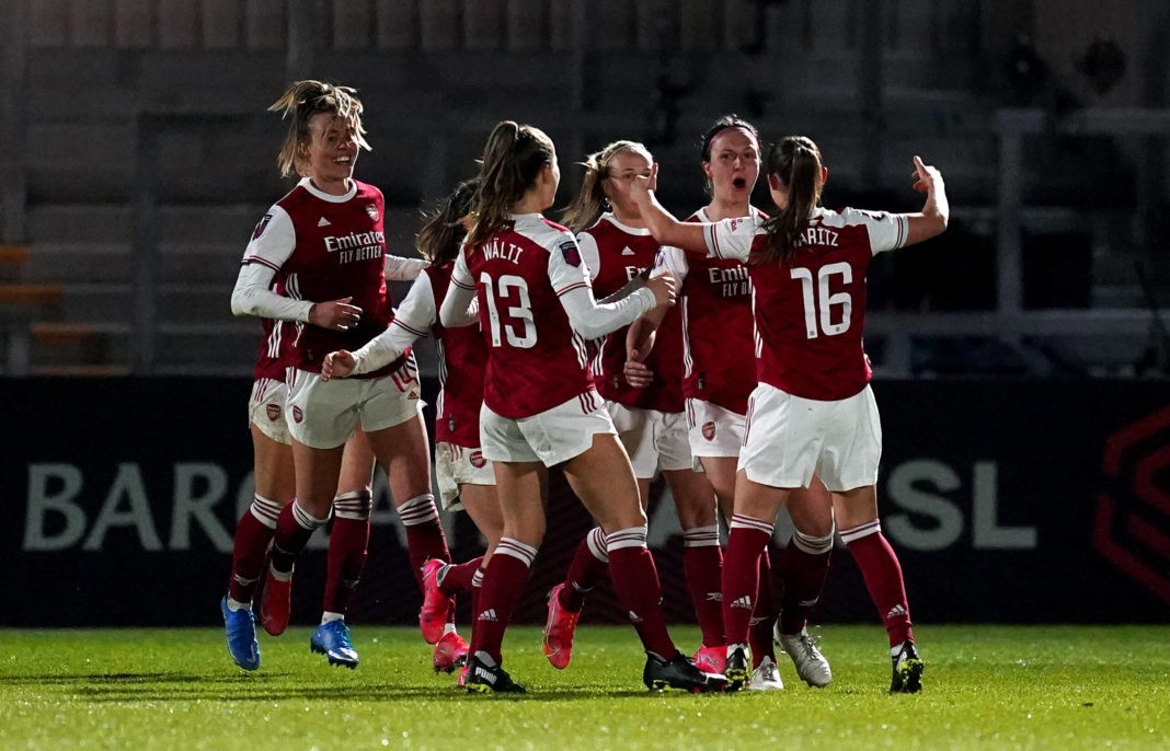 Arsenal v Manchester United, ManU - FA Women s Super League - Meadow Park Arsenal s Lotte Wubben-Moy second right celebrates scoring their side s second goal of the game during the FA Women s Super League match at Meadow Park, Borehamwood. Picture date: Friday March 19, 2021. Copyright: John Walton