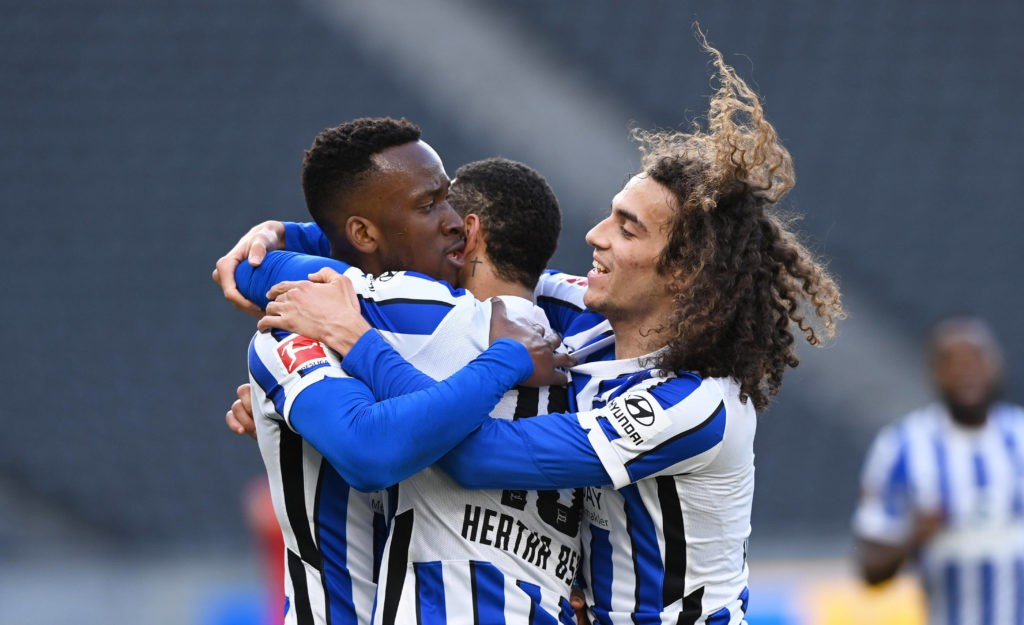 Matteo Guendouzi, Matheus Cunha, and Dodi Lukebakio celebrate a goal in the match between Hertha BSC and Bayer 04 Leverkusen, at the Olympiastadion. Berlin, 21.03.21. Photo: Andreas Gora