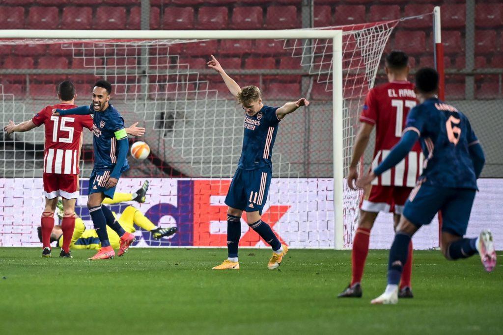 Martin Odegaard celebrating scoring for Arsenal against Olympiacos (Photo via Arsenal on Twitter)