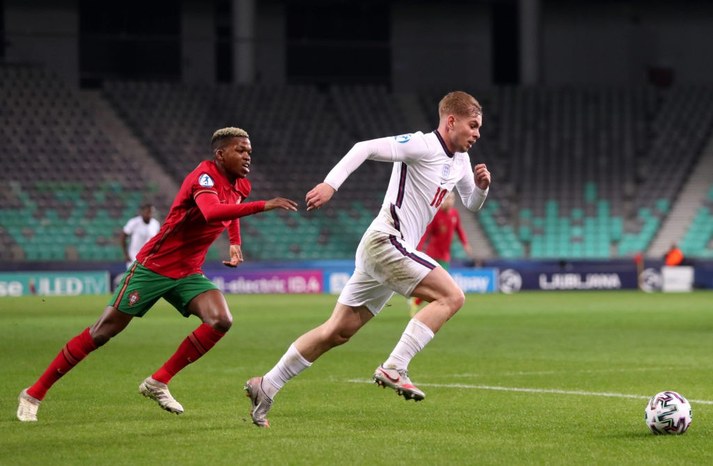 Emile Smith Rowe (right) during the 2021 UEFA European Under-21 Championship group D match at the Stozice Stadium in Ljubljana, Slovenia. Picture date: Sunday, March 28, 2021. Copyright: Luka Stanzl