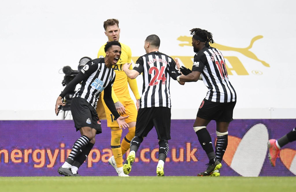 Newcastle United's Joe Willock celebrates scoring his side's second goal of the game during the Premier League match against Tottenham Hotspur at St James Park, Newcastle. Picture date: Sunday, April 4, 2021. Copyright: Peter Powell