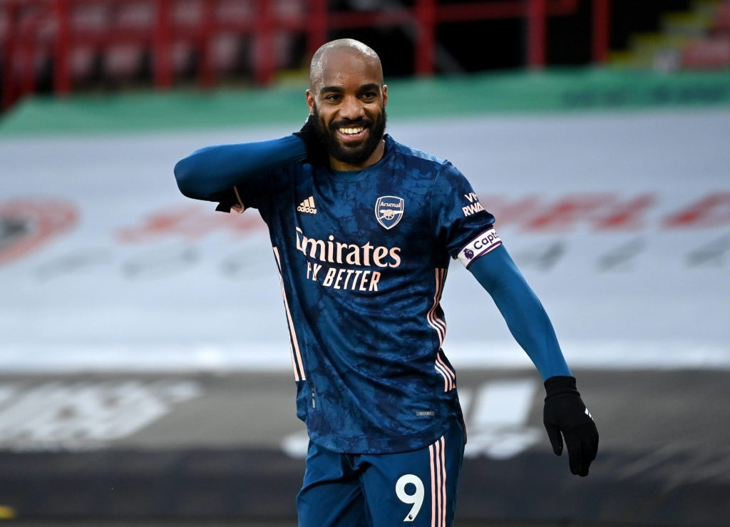 Sheffield United v Arsenal - Premier League - Bramall Lane Arsenal's Alexandre Lacazette celebrates scoring their side s first goal of the game during the Premier League match at at Bramall Lane, Sheffield. Picture date: Sunday April 11, 2021. Copyright: Laurence Griffiths