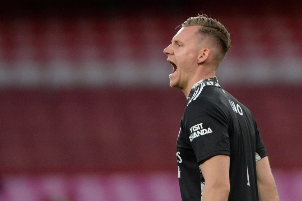 Bernd Leno of Arsenal in action during Premier League match between Arsenal and Everton at the Emirates Stadium in London - 23rd April 2021 Arsenal v Everton, Premier League, Football, The Emirates Stadium, London, UK - 23 Apr 2021 Photo by Holly Allison/TPI/Shutterstock