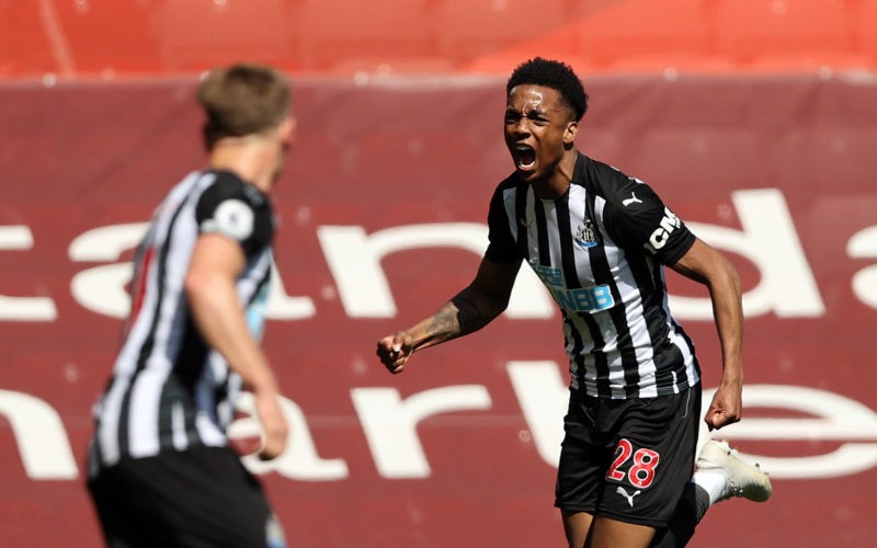 Joe Willock celebrates scoring their side s first goal of the game during the Premier League match at Anfield, Liverpool. Picture date: Saturday April 24, 2021. Copyright: Clive Brunskill 59372629