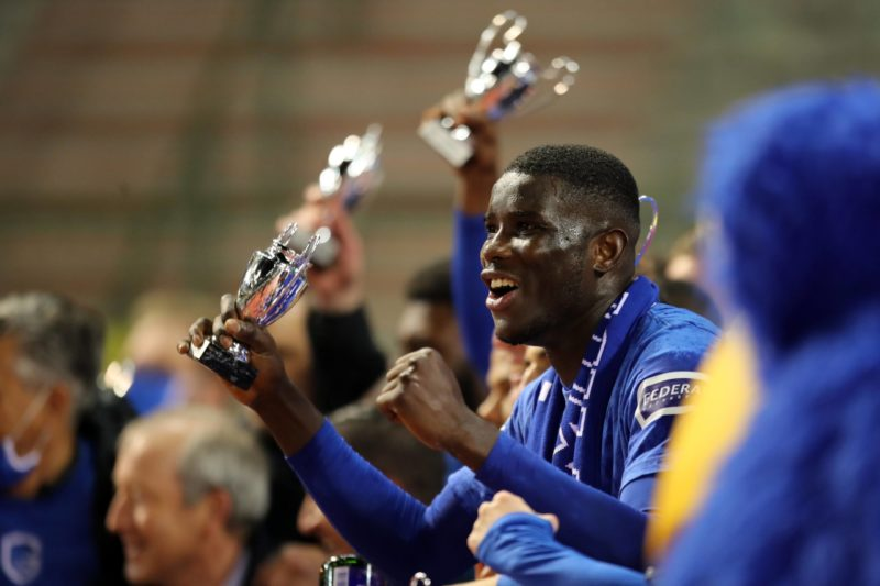 BRUSSELS, BELGIUM - APRIL 25: Paul Onuachu of KRC Genk celebrates after winning the Croky Cup Final match between Standard de Liege and KRC Genk on April 25, 2021 in Brussels, Belgium. Photo by Frank Abbloos/Isosport