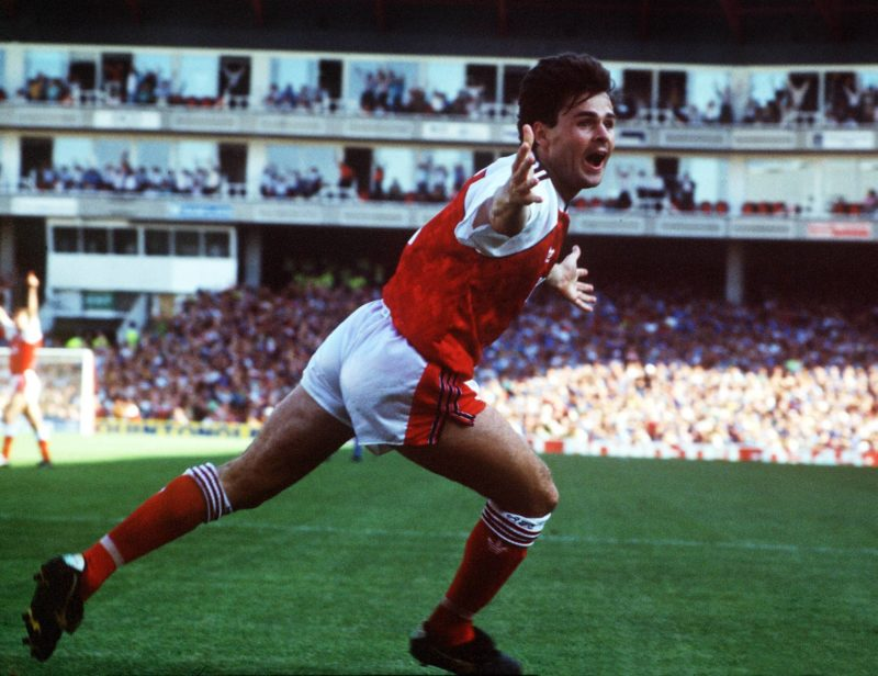 Anders Limpar (Arsenal FC) celebrates his goal.1990/91. Copyright: imago/Colorsport