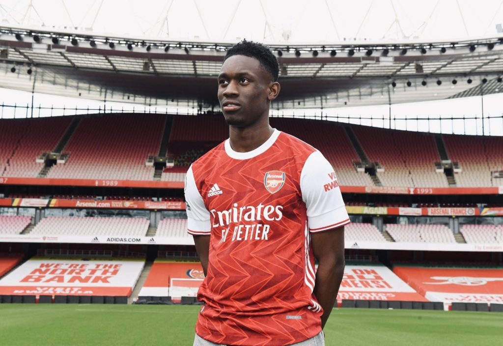 Folarin Balogun after signing his new long-term contract with Arsenal (Photo via Balogun on Twitter)