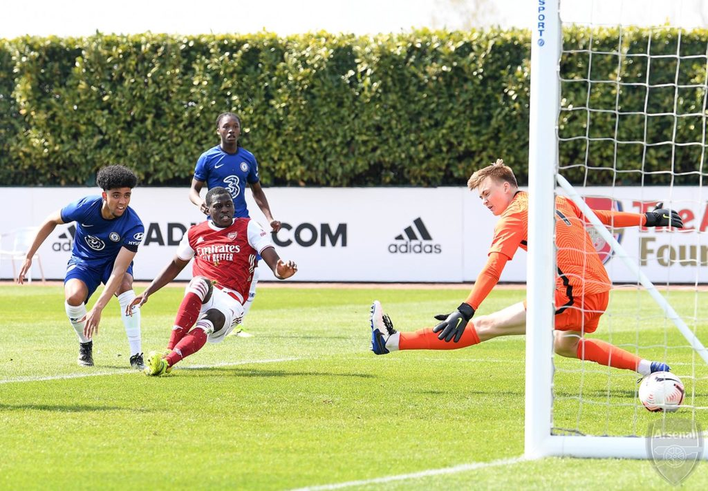 Mazeed Ogungbo scores against Chelsea (Photo via David Price on Twitter)