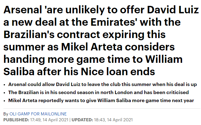 Daily Mail on David Luiz's contract