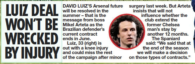 david luiz contract extension daily star 11 april 2021
