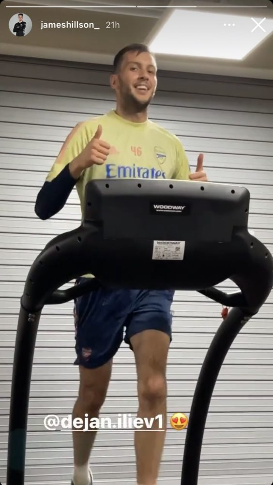 Dejan Iliev in training with Arsenal (Photo via James Hillson on Instagram)