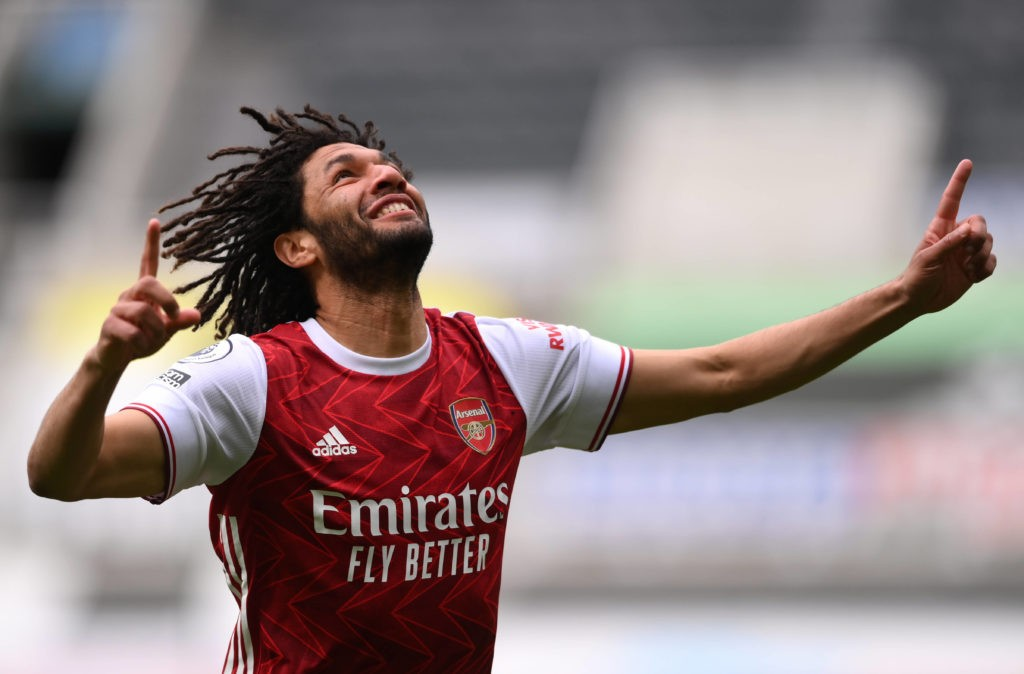 Newcastle United v Arsenal - Premier League - St James Park Arsenal s Mohamed Elneny celebrates scoring their side s first goal of the game during the Premier League match at St James Park, Newcastle upon Tyne. Issue date: Sunday May 2, 2021. Copyright: Stu Forster