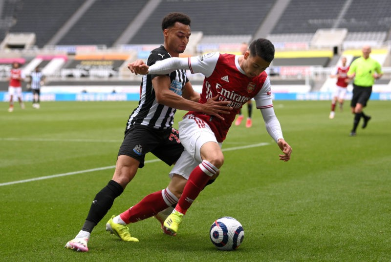 Newcastle United v Arsenal - Premier League - St James Park Newcastle United s Jacob Murphy left and Arsenal s Gabriel Martinelli battle for the ball during the Premier League match at St James Park, Newcastle upon Tyne. Issue date: Sunday May 2, 2021.Copyright: Stu Forster