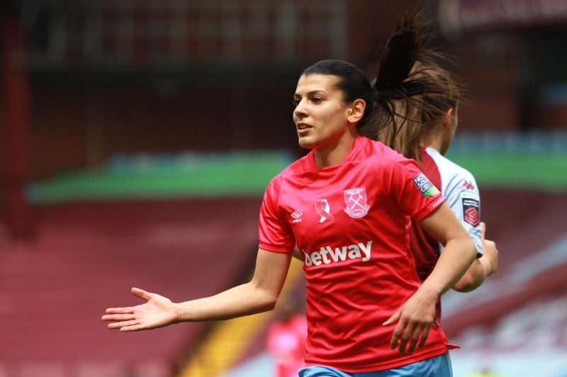 Kenza Dali 21 West Ham United during the FA Womens Super League 1 game between Aston Villa and West Ham United at Villa Park in Birmingham. Womens Super League - Aston Villa v West Ham United