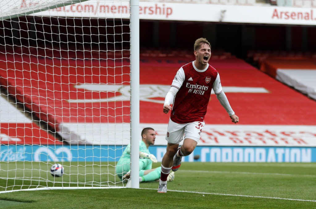 Arsenal v West Bromwich Albion - Premier League - Emirates Stadium Arsenal s Emile Smith Rowe celebrates scoring their side s first goal of the game during the Premier League match at the Emirates Stadium, London. Picture date: Sunday May 9, 2021. Copyright: Frank Augstein