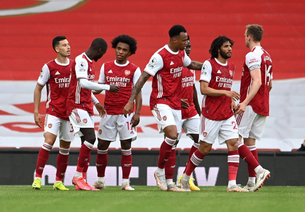 Arsenal v West Bromwich Albion - Premier League - Emirates Stadium Arsenal s Nicolas Pepe second left celebrates scoring their side s second goal of the game during the Premier League match at the Emirates Stadium, London. Picture date: Sunday May 9, 2021. Copyright: Andy Rain