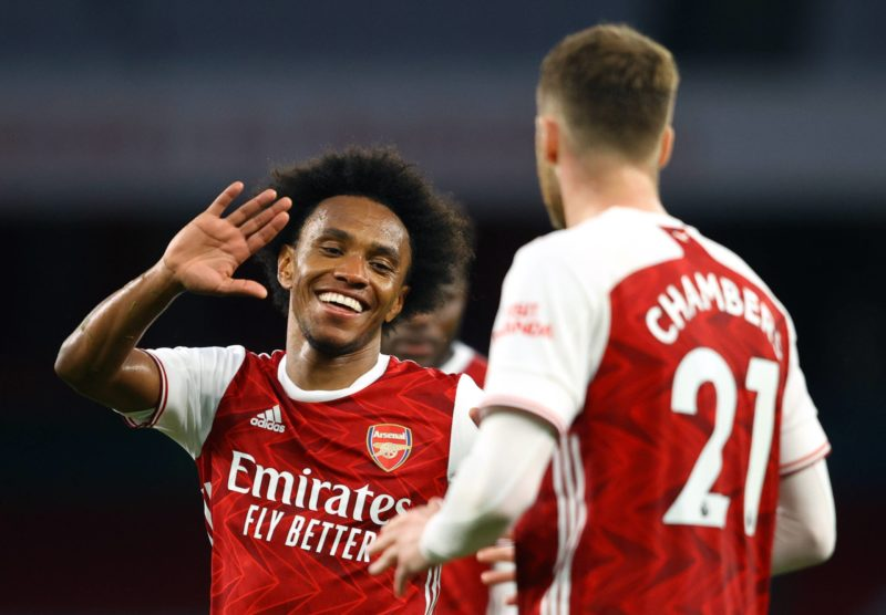Arsenal v West Bromwich Albion - Premier League - Emirates Stadium Arsenal s Willian celebrates scoring their side s third goal of the game during the Premier League match at the Emirates Stadium, London. Picture date: Sunday May 9, 2021. Copyright: Richard Heathcote