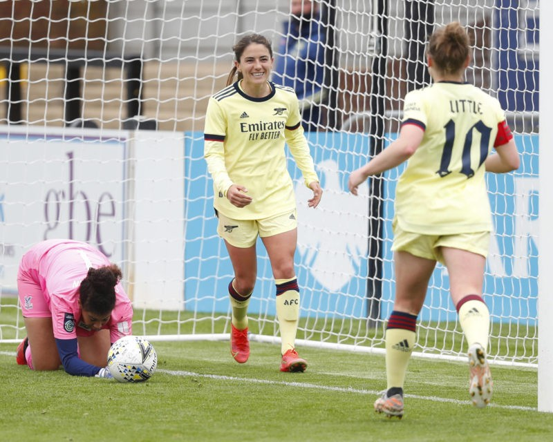Danielle van de Donk of Arsenal celebrates scoring with Kim Little during the Vitality Women s FA Cup Fifth Round Proper between Arsenal and Crystal Palace at Meadow Park Stadium , Borehamwood, UK on 16th May 2021. Borehamwood England United Kingdom Copyright: Action Foto Sport